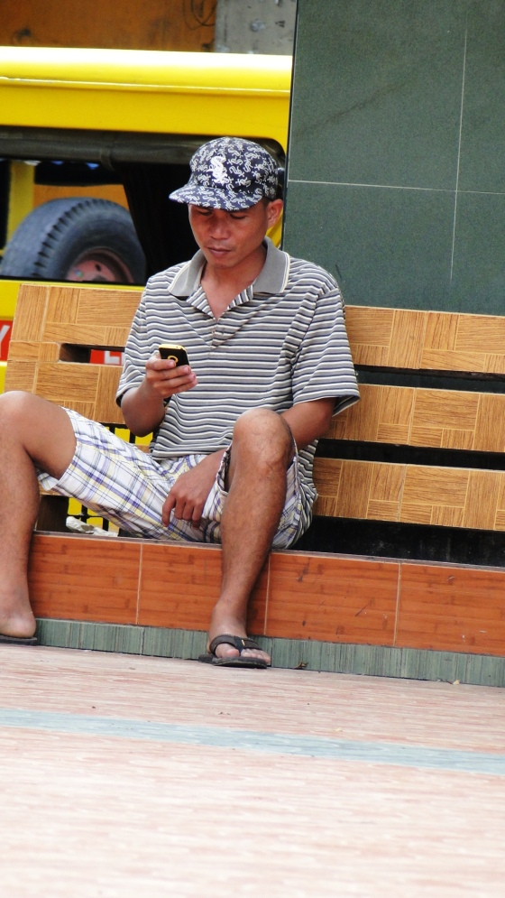 old man texting