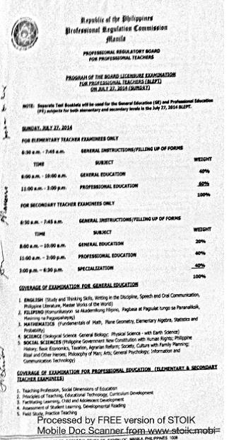 Schedule for the Examination